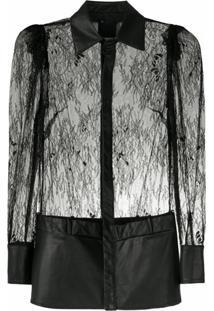 Andrea Bogosian Blusa Solna Couture Com Renda - Preto
