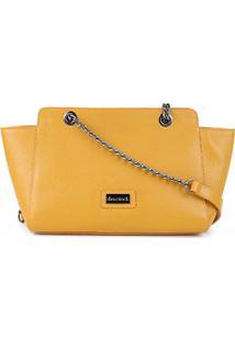 Bolsa Couro Shoestock Shoulder Bag Correntes Feminina - Feminino-Amarelo