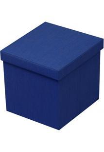 Puff Baú Desmontável Em Mdf 40X40Cm Azul