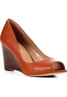 Peep Toe Couro Shoestock Anabela - Feminino-Caramelo