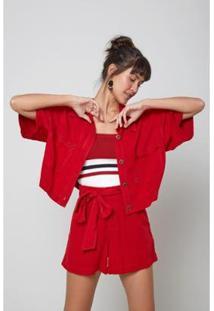 Camisa Bolso Desfiado Red Hot Oh, Boy! Feminina - Feminino-Vermelho