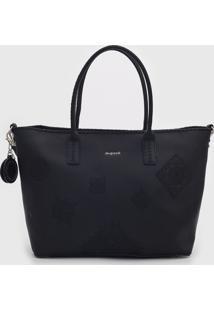 Bolsa Tiracolo Shopping Bag Alegria Preta - Marrom - Feminino - Dafiti