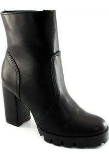 Bota Sapato Show Combat Boot Tratorado Feminina - Feminino-Preto