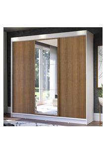 Guarda-Roupa Casal Madesa Istambul 3 Portas De Correr Com Espelho 3 Gavetas - Branco/Rustic Branco