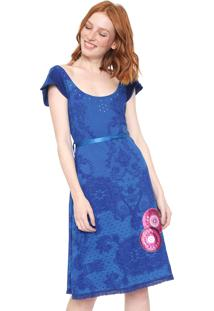 Vestido Desigual Curto Eleonor Azul