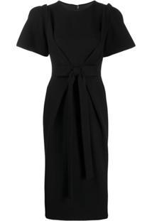 Dolce & Gabbana Vestido Midi Com Detalhe De Laço - Preto