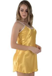 Camisola Linha Noite De Cetim Feminina - Feminino-Amarelo