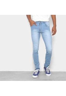 Calça Jeans Skinny Coffee Delavê Listras Laterais Masculina - Masculino-Jeans