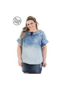 Blusa Plus Size - Confidencial Extra Jeans Molly Com Manga Flare Plus Size