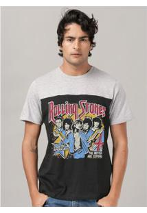 Camiseta Bandup Bicolor The Rolling Stones Tour Of America - Masculino-Preto+Cinza