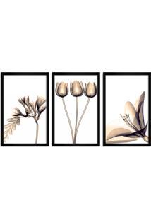 Quadro Oppen House 60X120Cm Flores Abstrato Transparentes Moldura Preta Estilo Raio-X Decorativo Interiores Mod:Oh002