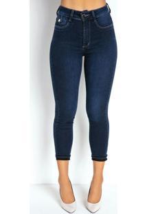 Calça Jeans Escura Super Lipo Cropped Sawary