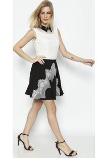 Vestido Com Recortes & Renda - Off White & Preto - Kkwi