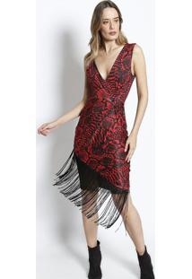 Vestido Acetinado Com Renda- Vermelho & Preto- Charrcharry