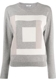Peserico Suéter Com Motivo Quadrado - Cinza