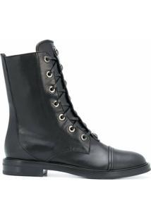 Casadei Ankle Boot Com Cadarço - Preto