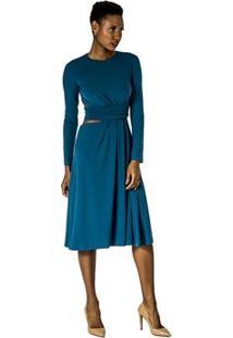 Vestido Midi Evasê Alphorria - Feminino-Azul