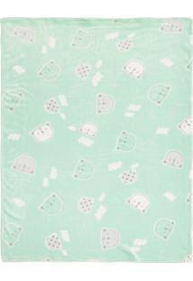 Cobertor Papi Microfibra Urso Verde