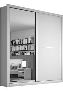 Guarda-Roupa Casal Com Espelho 2 Portas E 4 Gavetas Madrid Plus-Móveis Europa - Branco Acetinado