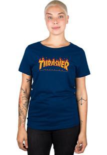 Camiseta Thrasher Magazine Feminina Flame Logo Azul Marinho - Azul Marinho - Dafiti