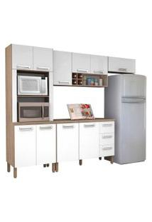 Cozinha Compacta Ametista Com Balcáo 10 Portas Composiçáo 8 Nogal/Branco - Kit'S Paraná