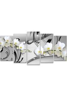 Quadro 80X150Cm Oppen House Orquídea Silver Luxury Flores Brancas