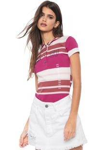 Camisa Polo Planet Girls Listrada Rosa/Off-White