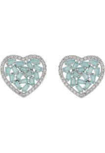 Brinco Narcizza Semijoias Coração Com Baguetes E Micro Zircônial Cristal Azul Claro Leitoso - Ródio