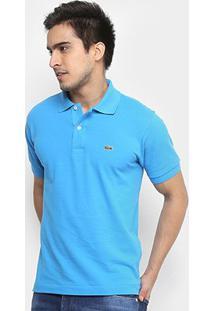 Camisa Polo Lacoste Piquet Original Fit Masculina - Masculino-Azul Piscina+Branco