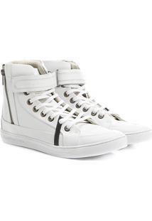 Tênis Calvin Klein Cano Alto Velcro - Masculino-Branco