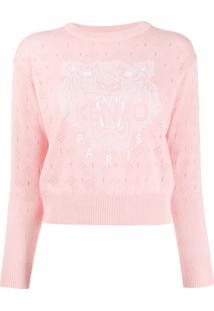 Kenzo Tiger-Print Pointelle Knit Sweater - Rosa
