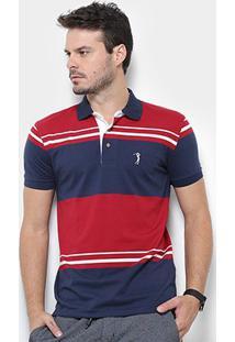 Camisa Polo Aleatory Malha Fio Tinto Masculina - Masculino-Vermelho+Marinho