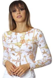 Blusa Ficalinda Manga Longa Com Proteção Solar Uv Estampa Estrela Do Mar Feminina - Feminino-Amarelo