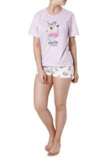 Pijama Curto Feminino Lilas/Off White