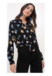 Camisa Floral Preto