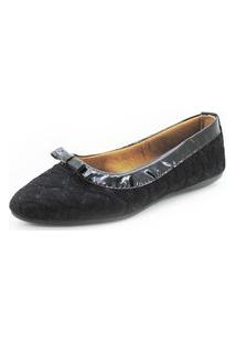 Sapatilha Gomes Shoes Couro Bico Fino Casual Macia Conforto Preto