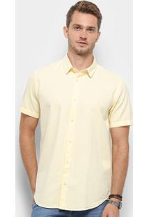 Camisa Manga Curta Reserva Regular Oxford Masculina - Masculino-Amarelo