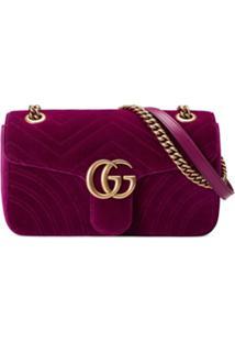 Gucci Bolsa Tiracolo 'Gg Marmont' Em Veludo E Seda - Rosa