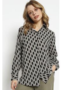 Camisa Abstrata Acetinada - Preta & Begesimple Life