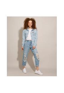 Calça Jeans Baggy Pride Cintura Alta Destroyed Com Faixa De Amarrar Azul Claro