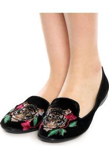 Sapatilha Dafiti Shoes Veludo Bordado Preto