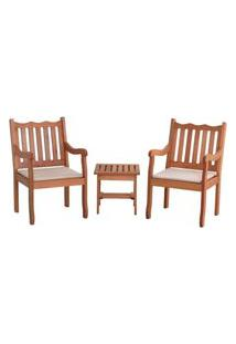 Conjunto 2 Cadeiras Nebel + Mesa De Centro - Bege