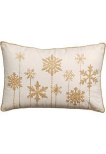 Capa Para Almofada Flocos De Neve- Bege & Dourada- 3Cromus