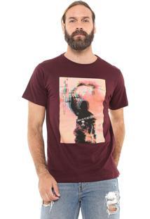 Camiseta Fiveblu Manga Curta Rebellion Bordô