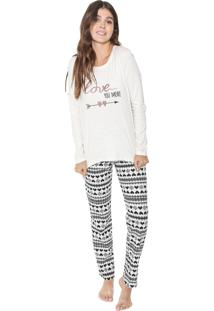 Pijama Cor Com Amor Love You More Off-White