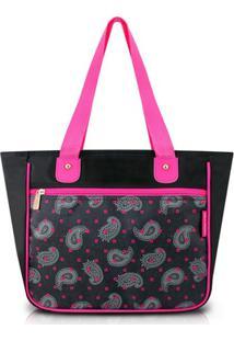 Bolsa Shopper Jacki Design Nylon - Feminino-Preto+Rosa