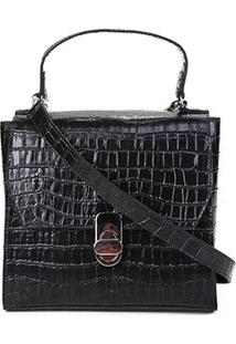 Bolsa Shoestock Mini Bag Satchel Croco Feminina - Feminino-Preto