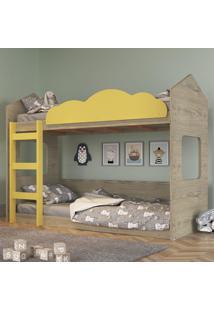 Beliche Infantil Casinha Com Escada Amarelo E Madeirado