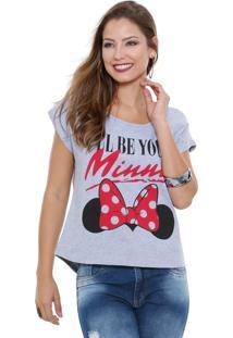 Blusa Feminina Manga Curta Estampa Minnie Disney