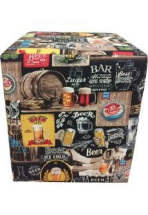 Puff Quadrado Alce Couch Bali Beer Cerveja 45Cm